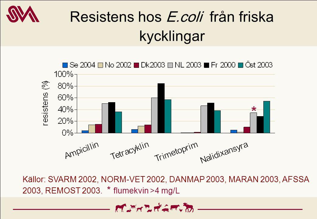 Resistens hos E.coli från friska kycklingar Källor: SVARM 2002, NORM-VET 2002, DANMAP 2003, MARAN 2003, AFSSA 2003, REMOST 2003. * flumekvin >4 mg/L