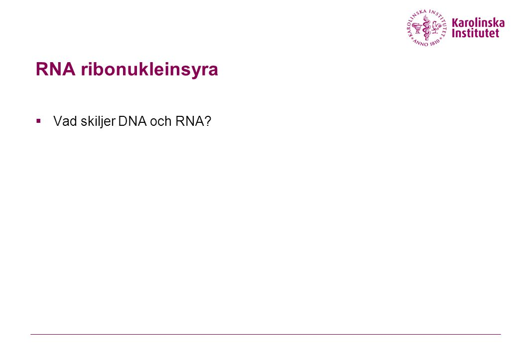 RNA ribonukleinsyra  Vad skiljer DNA och RNA?