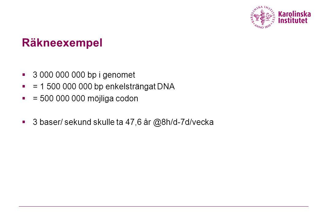 Räkneexempel  3 000 000 000 bp i genomet  = 1 500 000 000 bp enkelsträngat DNA  = 500 000 000 möjliga codon  3 baser/ sekund skulle ta 47,6 år @8h/d-7d/vecka