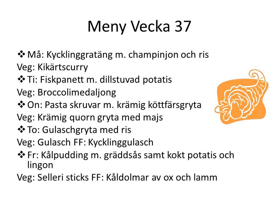 Meny Vecka 37  Må: Kycklinggratäng m. champinjon och ris Veg: Kikärtscurry  Ti: Fiskpanett m. dillstuvad potatis Veg: Broccolimedaljong  On: Pasta