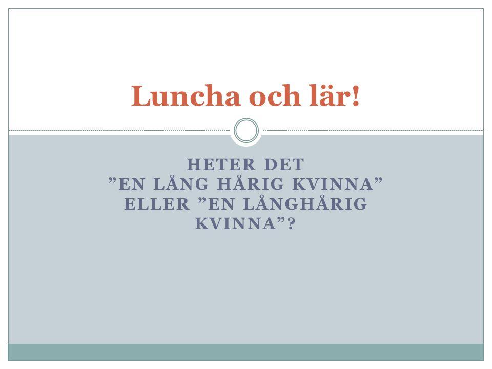 """HETER DET """"EN LÅNG HÅRIG KVINNA"""" ELLER """"EN LÅNGHÅRIG KVINNA""""? Luncha och lär!"""
