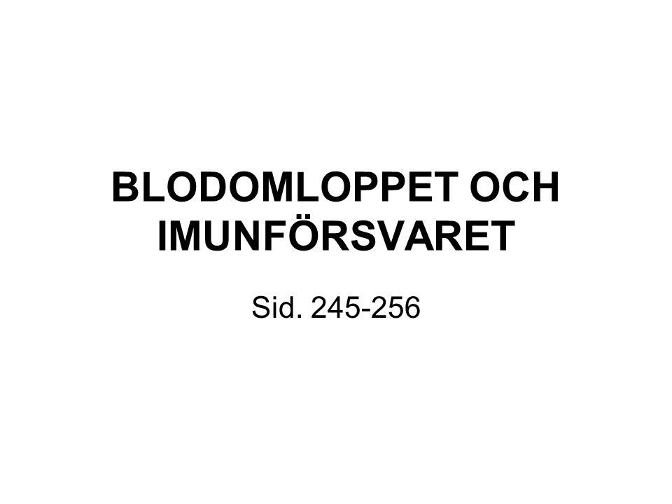BLODOMLOPPET OCH IMUNFÖRSVARET Sid. 245-256