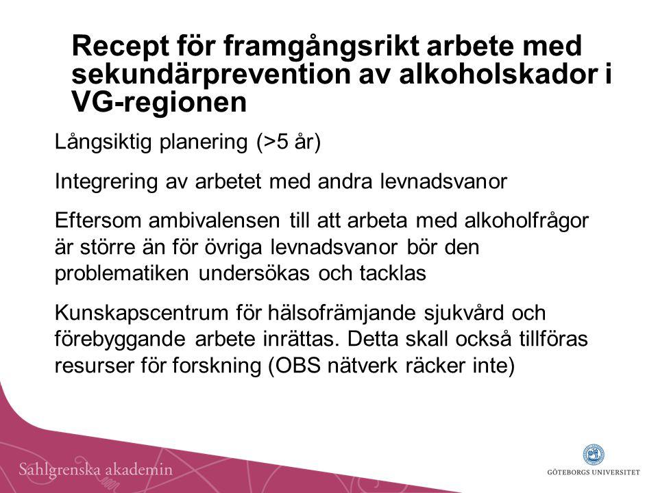 Recept för framgångsrikt arbete med sekundärprevention av alkoholskador i VG-regionen Långsiktig planering (>5 år) Integrering av arbetet med andra levnadsvanor Eftersom ambivalensen till att arbeta med alkoholfrågor är större än för övriga levnadsvanor bör den problematiken undersökas och tacklas Kunskapscentrum för hälsofrämjande sjukvård och förebyggande arbete inrättas.