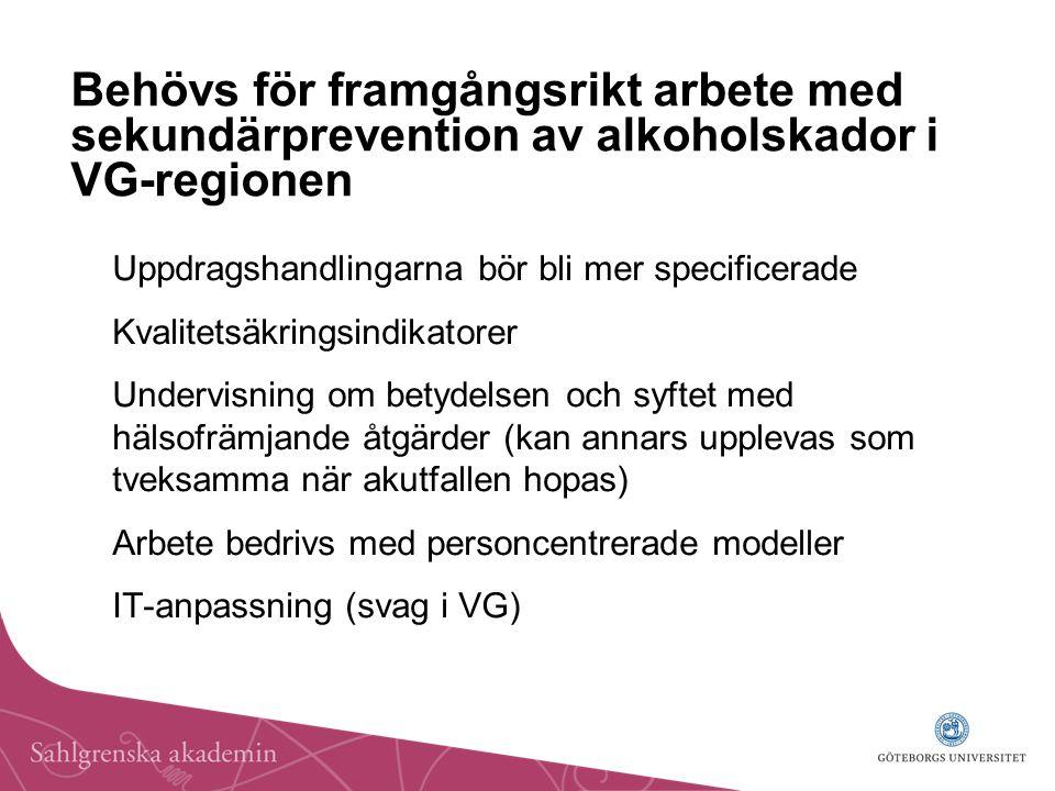 Behövs för framgångsrikt arbete med sekundärprevention av alkoholskador i VG-regionen Uppdragshandlingarna bör bli mer specificerade Kvalitetsäkringsindikatorer Undervisning om betydelsen och syftet med hälsofrämjande åtgärder (kan annars upplevas som tveksamma när akutfallen hopas) Arbete bedrivs med personcentrerade modeller IT-anpassning (svag i VG)