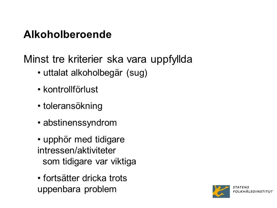 Alkoholberoende Minst tre kriterier ska vara uppfyllda uttalat alkoholbegär (sug) kontrollförlust toleransökning abstinenssyndrom upphör med tidigare