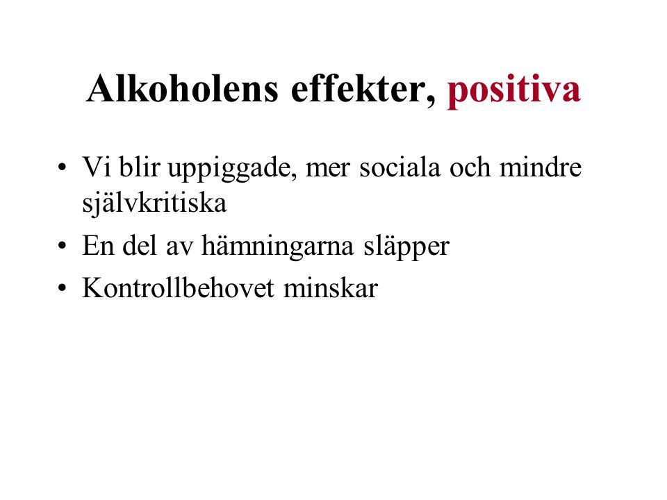 Alkoholens effekter, positiva Vi blir uppiggade, mer sociala och mindre självkritiska En del av hämningarna släpper Kontrollbehovet minskar