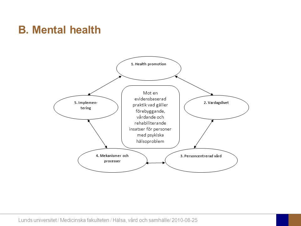 Lunds universitet / Medicinska fakulteten / Hälsa, vård och samhälle/ 2010-08-25 B. Mental health Mot en evidensbaserad praktik vad gäller förebyggand