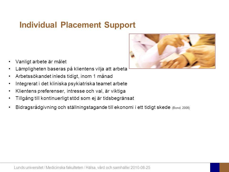 Lunds universitet / Medicinska fakulteten / Hälsa, vård och samhälle/ 2010-08-25 Individual Placement Support Vanligt arbete är målet Lämpligheten bas