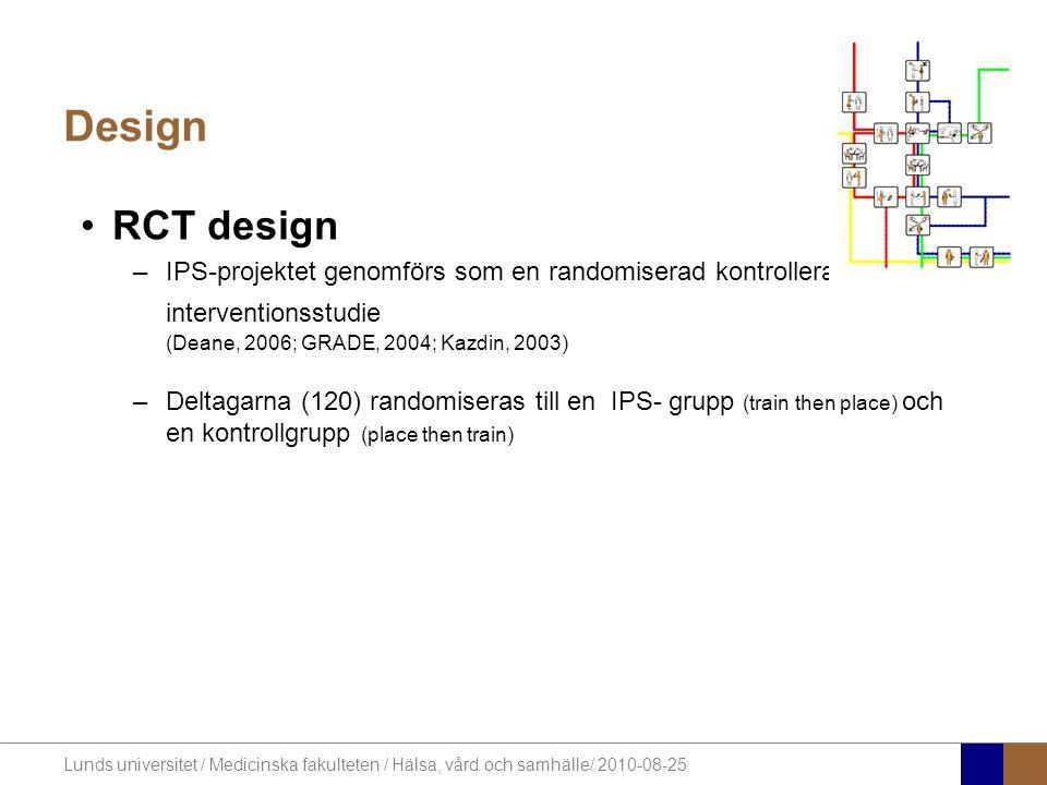 Lunds universitet / Medicinska fakulteten / Hälsa, vård och samhälle/ 2010-08-25 Design RCT design –IPS-projektet genomförs som en randomiserad kontro