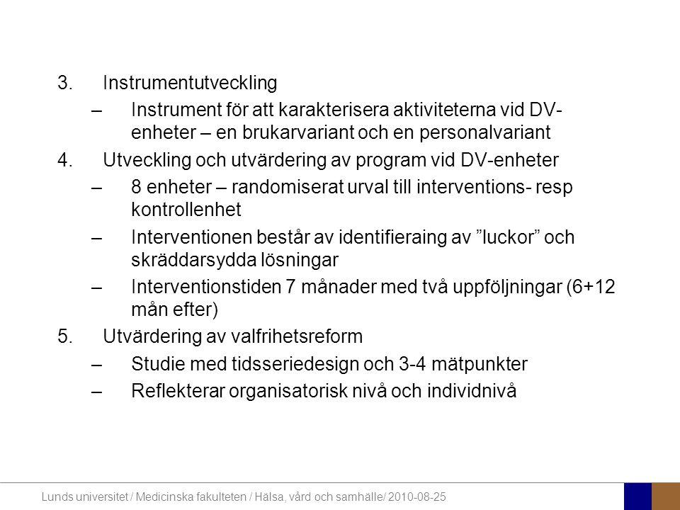 Lunds universitet / Medicinska fakulteten / Hälsa, vård och samhälle/ 2010-08-25 3.Instrumentutveckling –Instrument för att karakterisera aktivitetern