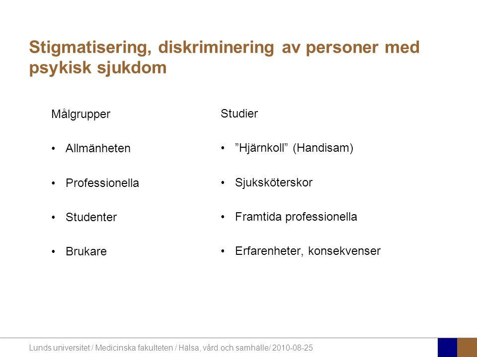 Lunds universitet / Medicinska fakulteten / Hälsa, vård och samhälle/ 2010-08-25 Stigmatisering, diskriminering av personer med psykisk sjukdom Målgru
