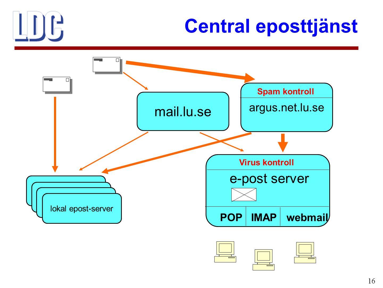 Central eposttjänst 16 mail.lu.se e-post server POP IMAP webmail lokal epost-server Virus kontroll argus.net.lu.se Spam kontroll