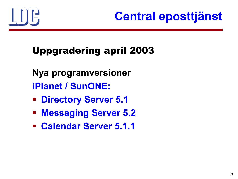 Central eposttjänst 2 Nya programversioner iPlanet / SunONE:  Directory Server 5.1  Messaging Server 5.2  Calendar Server 5.1.1 Uppgradering april