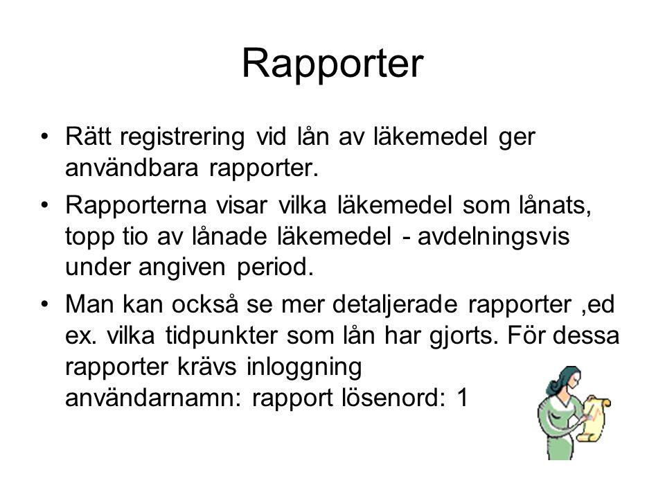 Rapporter Rätt registrering vid lån av läkemedel ger användbara rapporter.