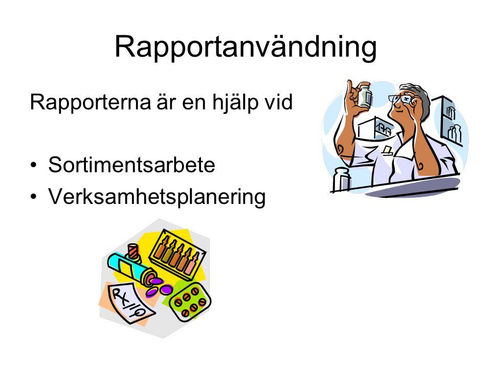 Rapportanvändning Rapporterna är en hjälp vid Sortimentsarbete Verksamhetsplanering
