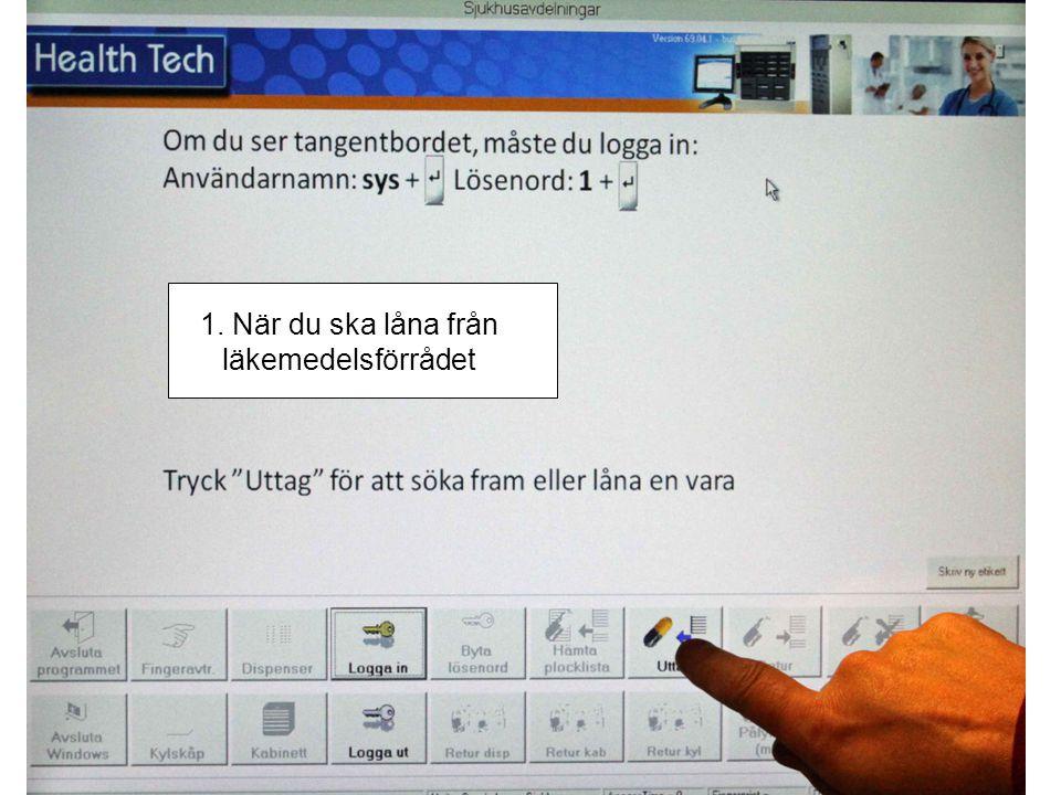 2. Välj avdelning Du kan söka på listen eller skriva på tangentbordet på skärmen