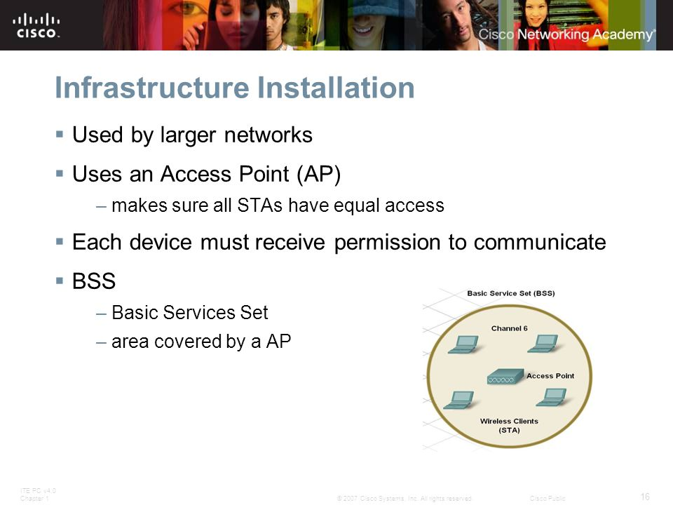ITE PC v4.0 Chapter 1 16 © 2007 Cisco Systems, Inc. All rights reserved.Cisco Public Infrastructure Installation  Used by larger networks  Uses an A
