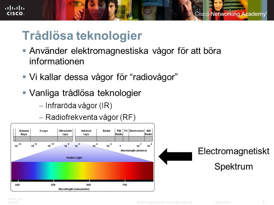 ITE PC v4.0 Chapter 1 2 © 2007 Cisco Systems, Inc. All rights reserved.Cisco Public Trådlösa teknologier  Använder elektromagnestiska vågor för att b