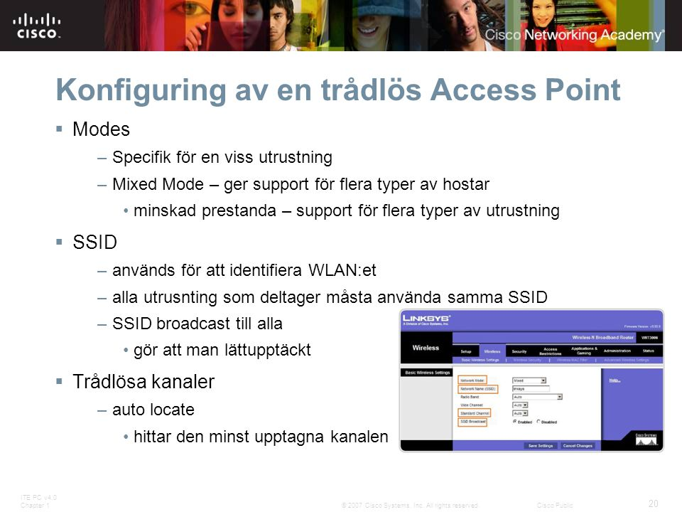 ITE PC v4.0 Chapter 1 20 © 2007 Cisco Systems, Inc. All rights reserved.Cisco Public Konfiguring av en trådlös Access Point  Modes – Specifik för en