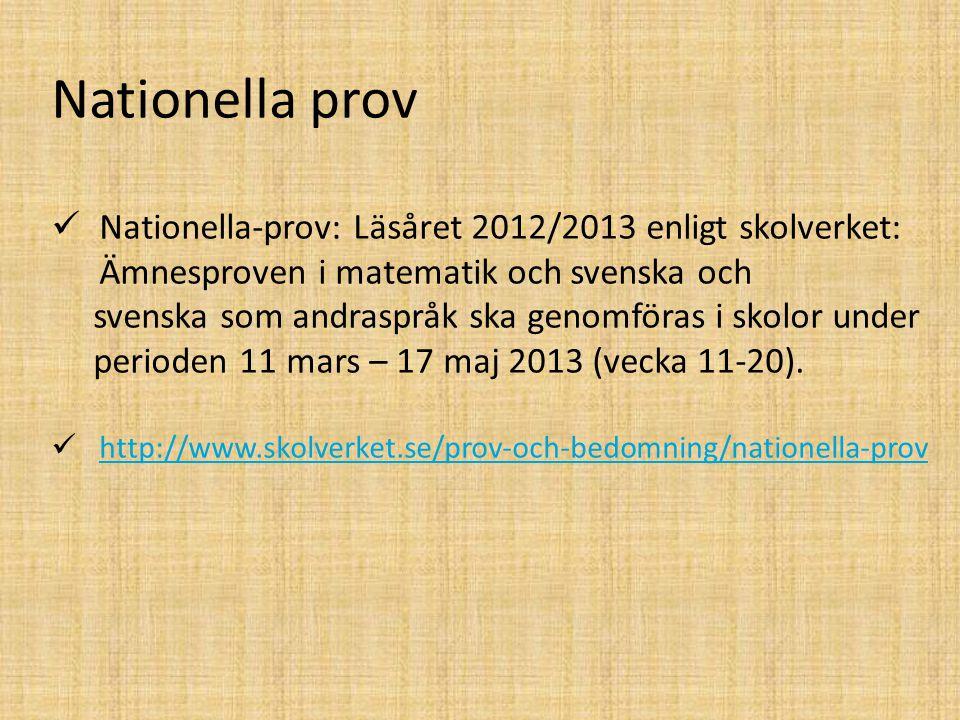Nationella prov Nationella-prov: Läsåret 2012/2013 enligt skolverket: Ämnesproven i matematik och svenska och svenska som andraspråk ska genomföras i skolor under perioden 11 mars – 17 maj 2013 (vecka 11-20).