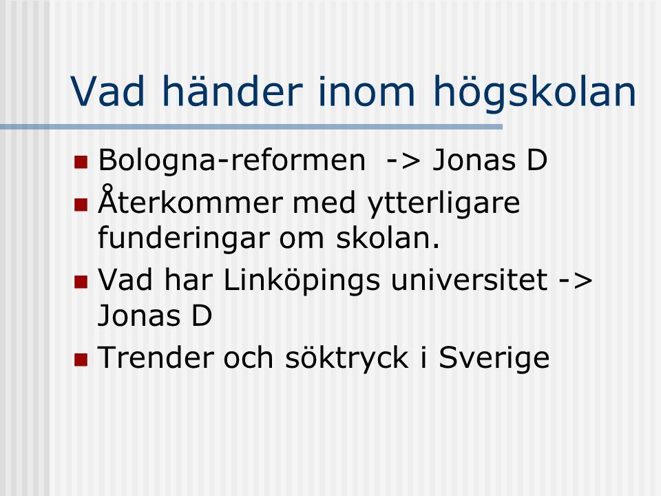 Vad händer inom högskolan Bologna-reformen -> Jonas D Återkommer med ytterligare funderingar om skolan. Vad har Linköpings universitet -> Jonas D Tren