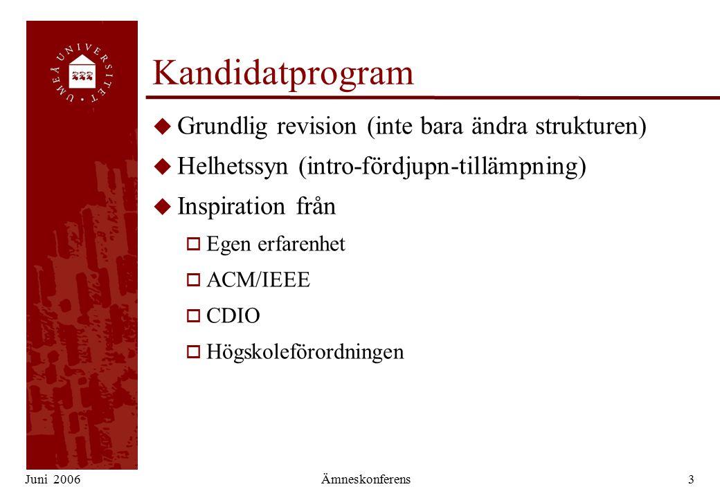 Juni 2006Ämneskonferens3 Kandidatprogram u Grundlig revision (inte bara ändra strukturen) u Helhetssyn (intro-fördjupn-tillämpning) u Inspiration från o Egen erfarenhet o ACM/IEEE o CDIO o Högskoleförordningen