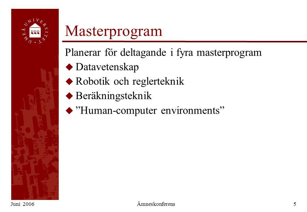 Juni 2006Ämneskonferens5 Masterprogram Planerar för deltagande i fyra masterprogram u Datavetenskap u Robotik och reglerteknik u Beräkningsteknik u Human-computer environments