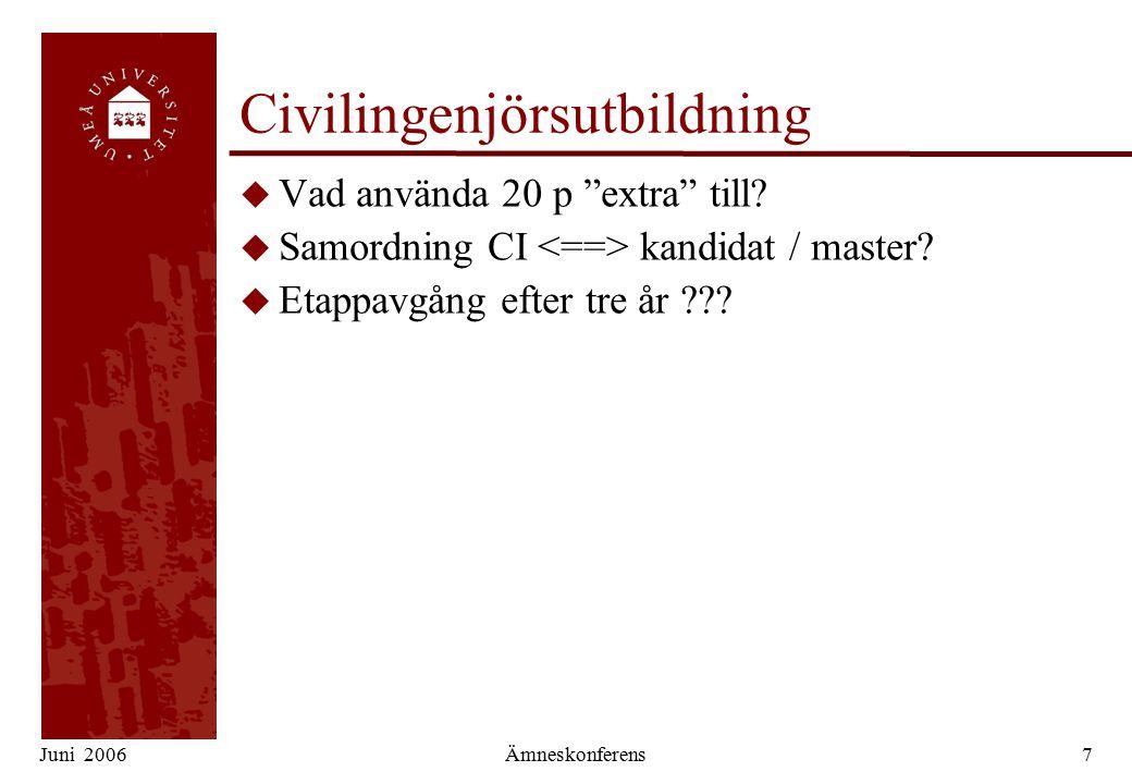 Juni 2006Ämneskonferens7 Civilingenjörsutbildning u Vad använda 20 p extra till.