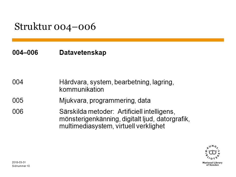 Sidnummer 2015-03-31 10 Struktur 004–006 004–006 Datavetenskap 004 Hårdvara, system, bearbetning, lagring, kommunikation 005 Mjukvara, programmering, data 006 Särskilda metoder: Artificiell intelligens, mönsterigenkänning, digitalt ljud, datorgrafik, multimediasystem, virtuell verklighet