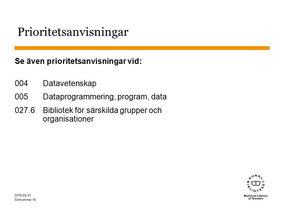 Sidnummer 2015-03-31 15 Prioritetsanvisningar Se även prioritetsanvisningar vid: 004 Datavetenskap 005 Dataprogrammering, program, data 027.6 Bibliotek för särskilda grupper och organisationer