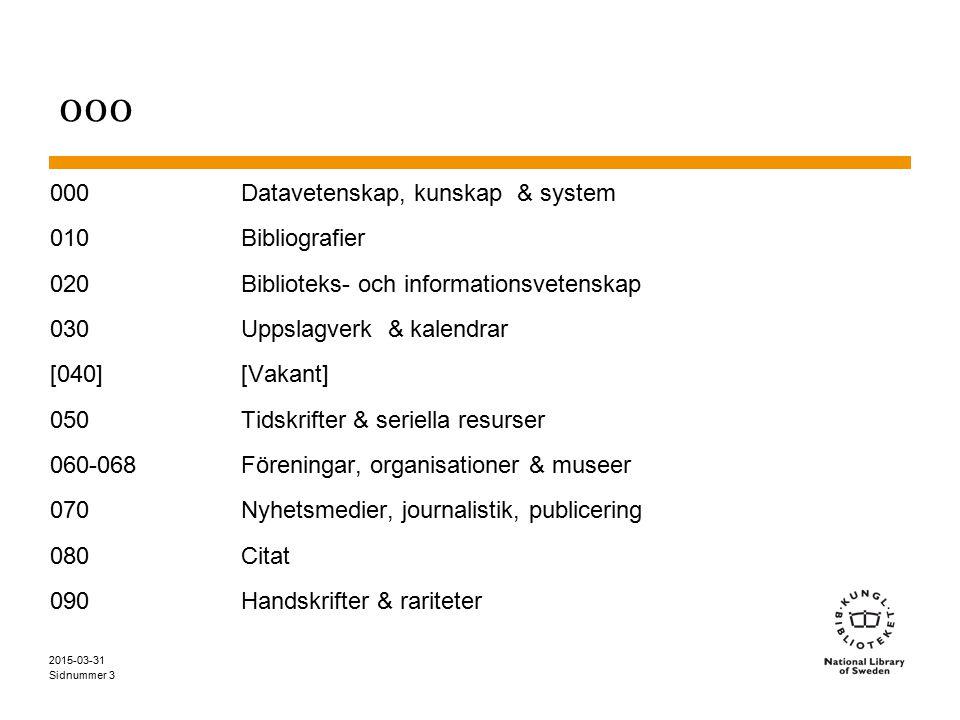 Sidnummer 2015-03-31 3 000 000Datavetenskap, kunskap & system 010Bibliografier 020Biblioteks- och informationsvetenskap 030Uppslagverk & kalendrar [04