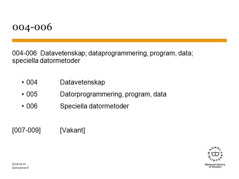 Sidnummer 004-006 004-006 Datavetenskap; dataprogrammering, program, data; speciella datormetoder 004Datavetenskap 005Datorprogrammering, program, data 006Speciella datormetoder [007-009][Vakant] 2015-03-31 6