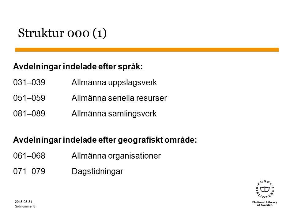 Sidnummer 2015-03-31 8 Struktur 000 (1) Avdelningar indelade efter språk: 031–039Allmänna uppslagsverk 051–059Allmänna seriella resurser 081–089Allmän