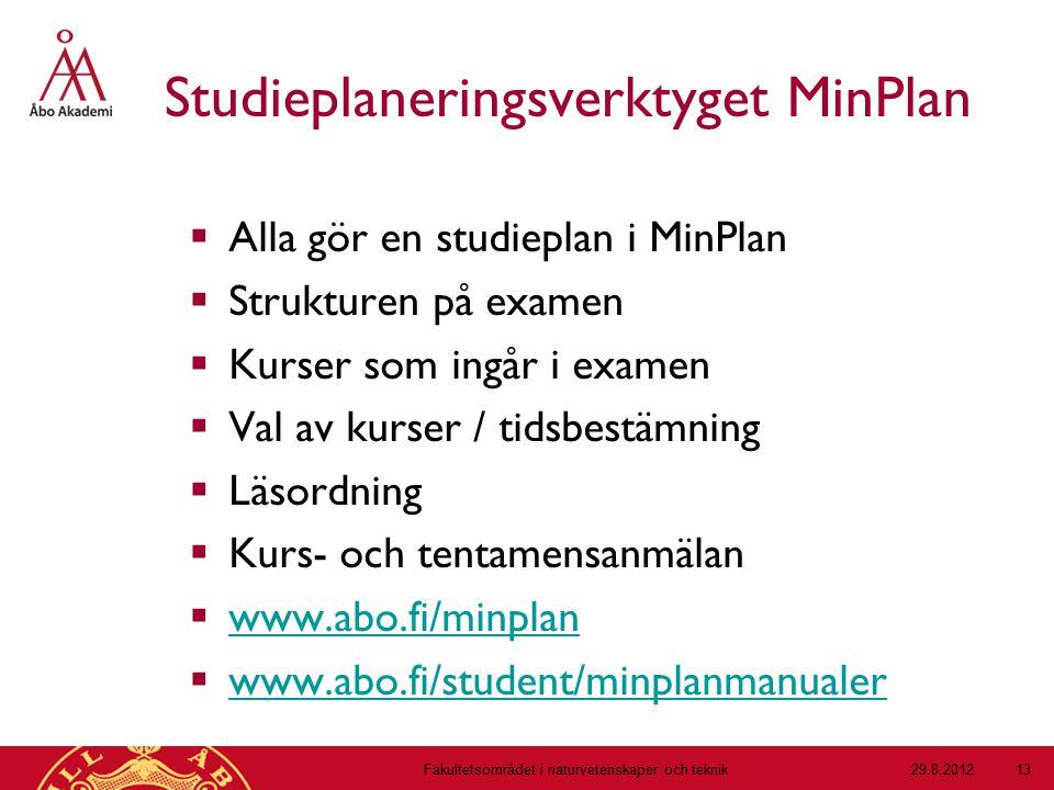 Studieplaneringsverktyget MinPlan  Alla gör en studieplan i MinPlan  Strukturen på examen  Kurser som ingår i examen  Val av kurser / tidsbestämni