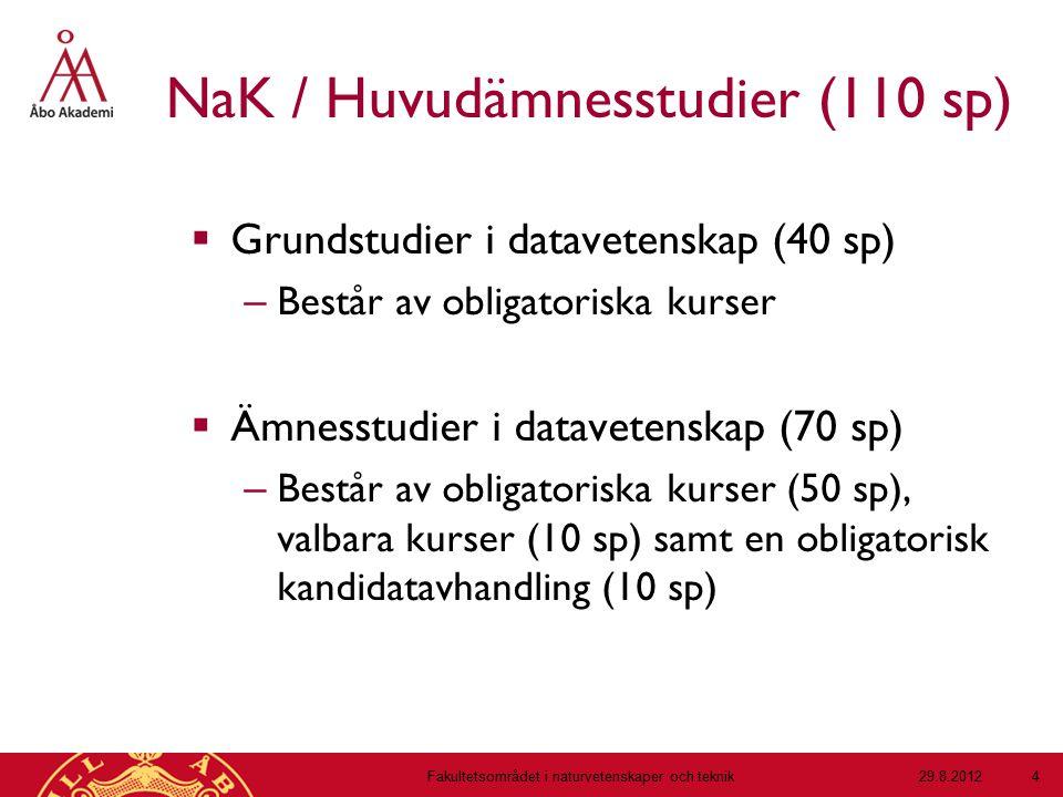 NaK / Huvudämnesstudier (110 sp)  Grundstudier i datavetenskap (40 sp) – Består av obligatoriska kurser  Ämnesstudier i datavetenskap (70 sp) – Best