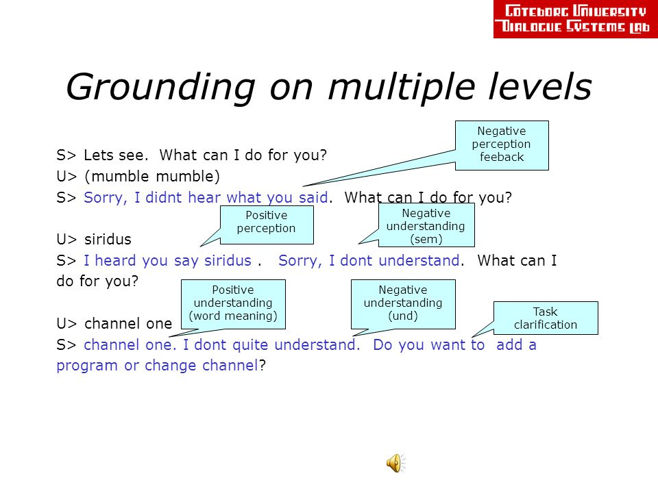 Grounding on multiple levels S> Lets see. What can I do for you.