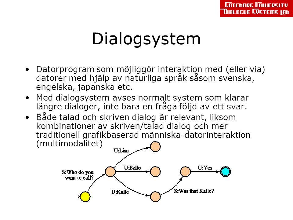 Verktyg utvecklade vid GU Dialogue Systems Lab TrindiKit –En verktygslåda för forskning om och utveckling av dialogsystem, utvecklad i EU-projekten TRINDI, Siridus och TALK –Implementerad i Prolog GoDiS (Gothenburg Dialogue System) –Utvecklad m h a TrindiKit –Implementation av en generell teori om dialog: Issue-based Dialogue Management –Teoretiskt motiverad men med praktiska syften: flexibel människa-maskin-interaktion med naturligt tal lätt (och billigt) att utveckla ny applikationer