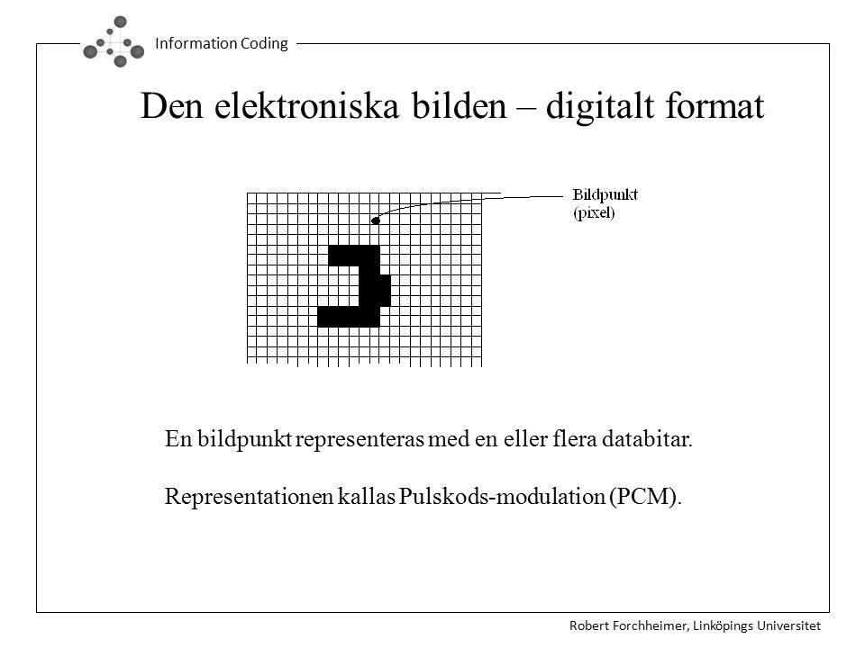 Robert Forchheimer, Linköpings Universitet Information Coding En bildpunkt representeras med en eller flera databitar. Representationen kallas Pulskod