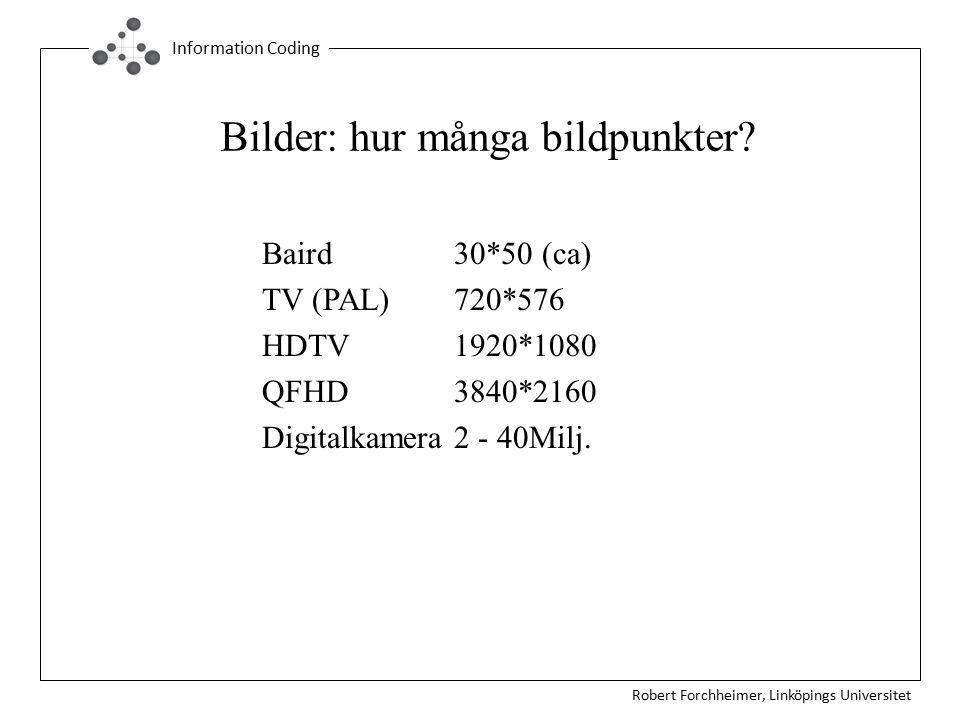 Robert Forchheimer, Linköpings Universitet Information Coding Bilder: hur många bildpunkter? Baird30*50 (ca) TV (PAL)720*576 HDTV 1920*1080 QFHD3840*2