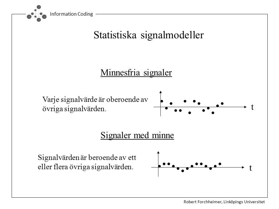 Robert Forchheimer, Linköpings Universitet Information Coding Statistiska signalmodeller Minnesfria signaler Signaler med minne Signalvärden är beroende av ett eller flera övriga signalvärden.