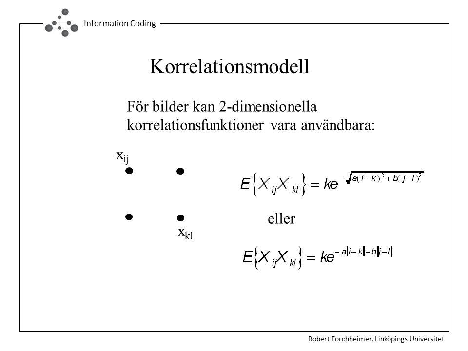 Robert Forchheimer, Linköpings Universitet Information Coding Korrelationsmodell För bilder kan 2-dimensionella korrelationsfunktioner vara användbara: x ij x kl eller