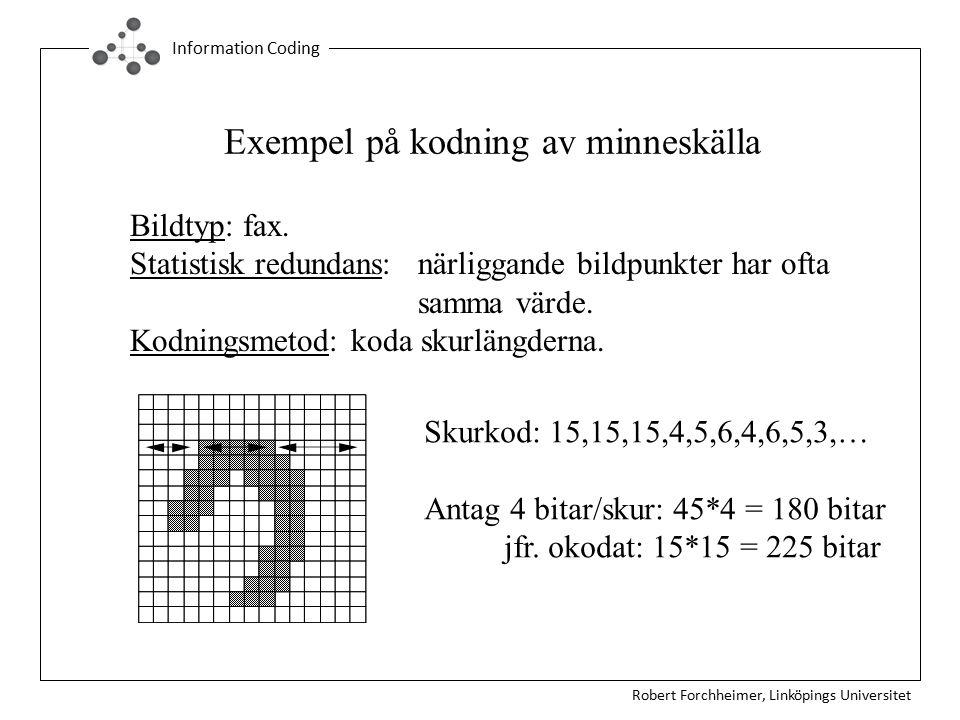 Robert Forchheimer, Linköpings Universitet Information Coding Exempel på kodning av minneskälla Bildtyp: fax. Statistisk redundans: närliggande bildpu