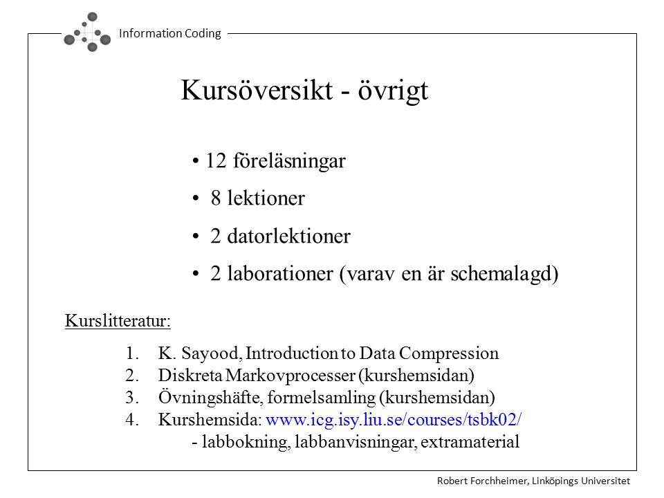 Robert Forchheimer, Linköpings Universitet Information Coding Kursöversikt - övrigt 12 föreläsningar 8 lektioner 2 datorlektioner 2 laborationer (varav en är schemalagd) 1.K.