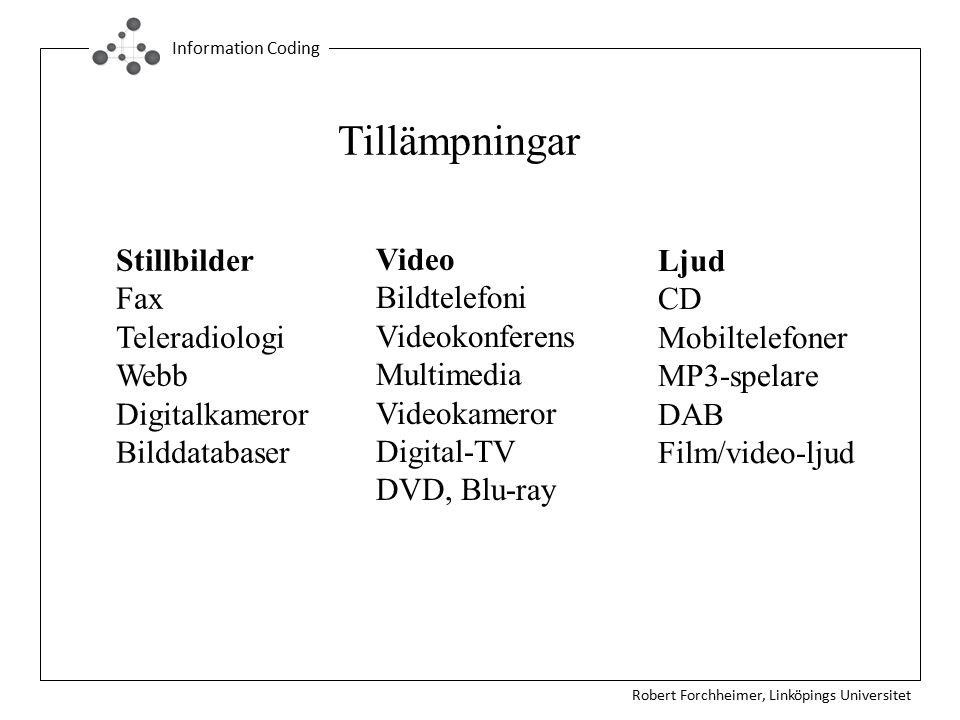 Robert Forchheimer, Linköpings Universitet Information Coding Tillämpningar Stillbilder Fax Teleradiologi Webb Digitalkameror Bilddatabaser Video Bild