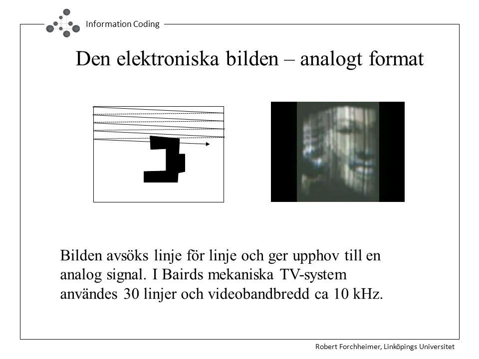 Robert Forchheimer, Linköpings Universitet Information Coding Den elektroniska bilden – analogt format Bilden avsöks linje för linje och ger upphov till en analog signal.