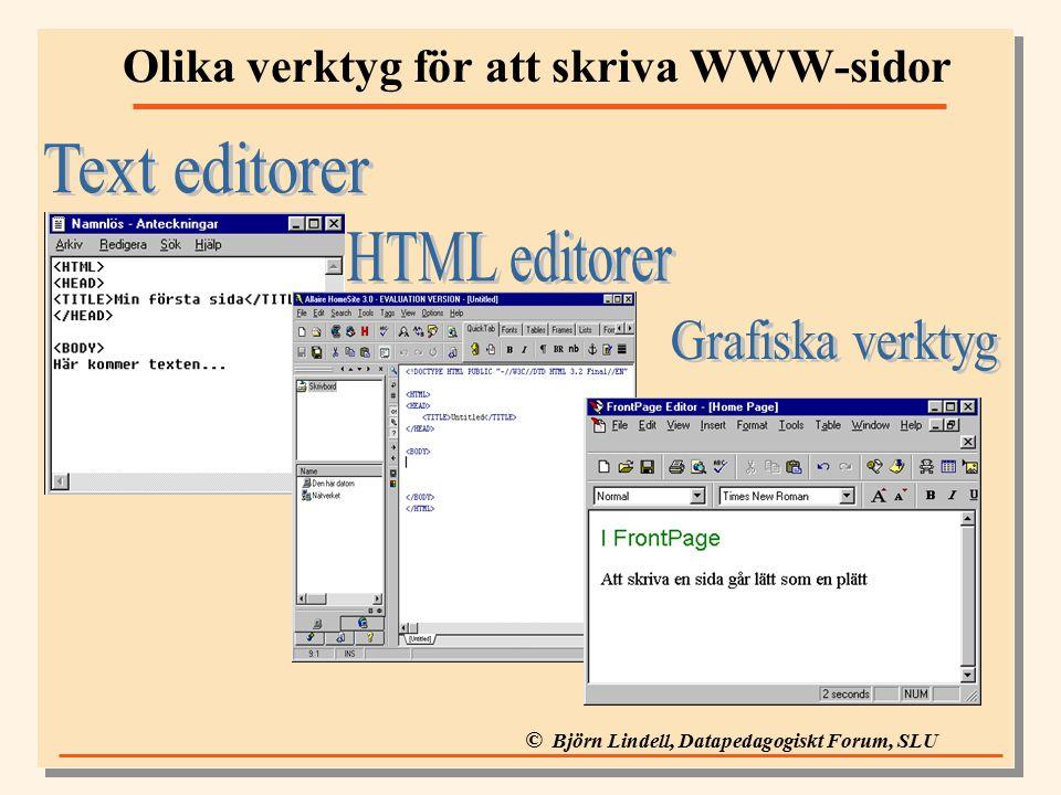 © Björn Lindell, Datapedagogiskt Forum, SLU Olika verktyg för att skriva WWW-sidor