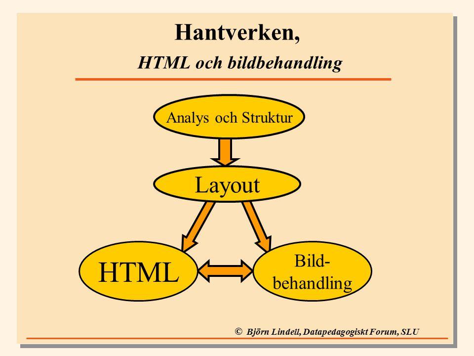 © Björn Lindell, Datapedagogiskt Forum, SLU Hantverken, HTML och bildbehandling HTML Bild- behandling Layout Analys och Struktur