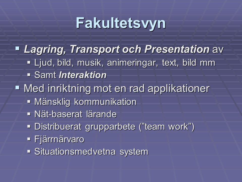Fakultetsvyn  Lagring, Transport och Presentation av  Ljud, bild, musik, animeringar, text, bild mm  Samt Interaktion  Med inriktning mot en rad a