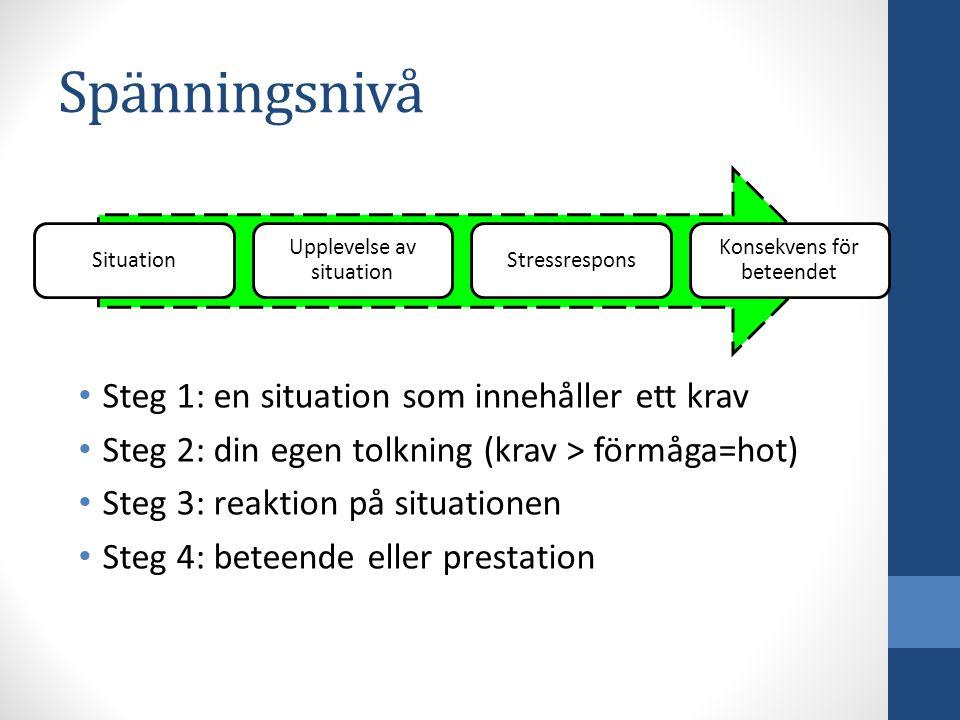 Spänningsnivå Situation Upplevelse av situation Stressrespons Konsekvens för beteendet Steg 1: en situation som innehåller ett krav Steg 2: din egen t