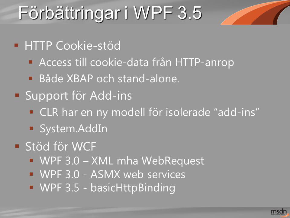 Förbättringar i WPF 3.5  HTTP Cookie-stöd  Access till cookie-data från HTTP-anrop  Både XBAP och stand-alone.  Support för Add-ins  CLR har en n